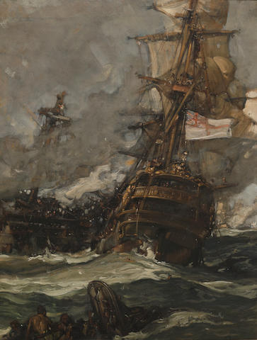 Sir Frank Brangwyn, R.A. (British, 1867-1956) The Brunswick caught anchors with her enemy 29 x 22in (73.7 x 55.9cm)
