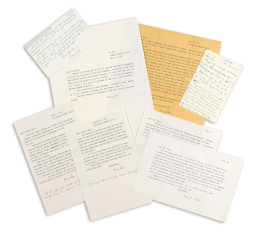"ROTH, HENRY. 1906-1995. 4 Typed Letters Signed and 2 Autograph Postcards Signed (""Henry Roth"") with autograph postscripts on two letters, 4 pp + postcards, 8vo and 4to, Augusta, Maine, and Albuquerque, New Mexico, 1965-66 (letters) and 1988-90 (postcards),"