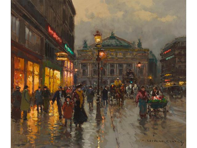 Edouard Léon Cortès (French, 1882-1969) The Opera House, Paris 18 x 21 1/2in (45.7 x 54.6cm)