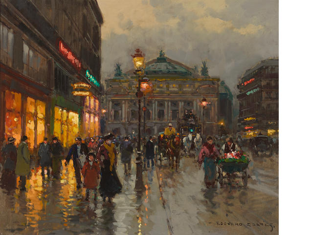 Edouard Léon Cortès (French, 1882-1969) The Opera House, Paris 18 x 21 1/2in (45.7 x 54.6cm)