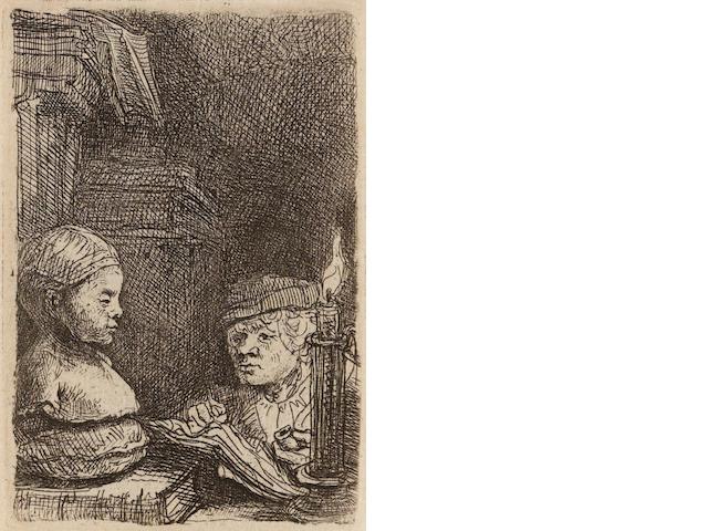 Rembrandt Harmensz van Rijn (1606-1669); Man drawing from a Cast;