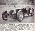 1933 Aston Martin 1.5-Liter Le Mans 2/4 Seater  Chassis no. G2/213 Engine no. G2/213