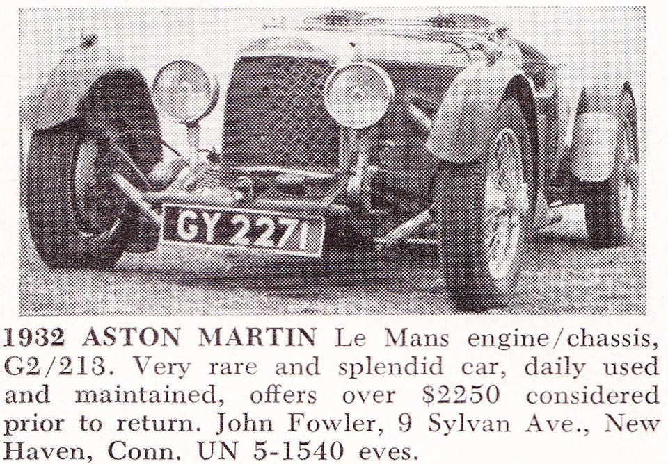Ex-Basil Dean, owned by Nathan Clark since 1972, Mille Miglia eligible,1932 Aston Martin 1½ Liter Le Mans 2-4 Seater  Chassis no. G2/213 Engine no. G2/213