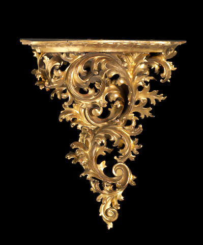 A Florentine giltwood wall bracket  late 19th century