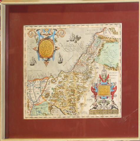 ORTELIUS, ABRAHAM. 1527-1598. Palaestinae sive totius terrae promissionis nova descriptio. [Antwerp: Ortelius, 1595 or later.]