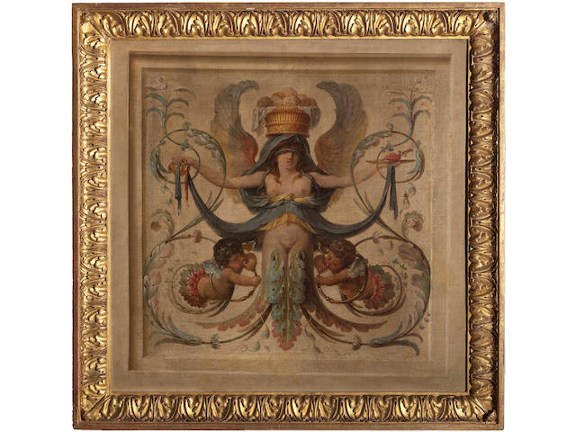 A set of four French Neoclassical painted canvas allegorical panels<BR />fourth quarter 18th century