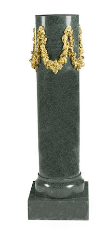 A Louis XVI style gilt bronze mounted green marble columnar pedestal <BR />second half 20th century