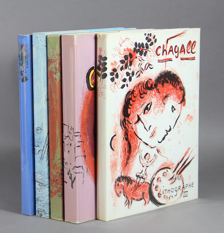 [CHAGALL, MARC. 1887-1985.] MOURLOT, FERNAND & CHARLES SORLIER. The Lithographs of Chagall. Monte Carlo, Boston & New York: Andre Sauret, Boston Book and Art Shop, Crown, [1960-1984].