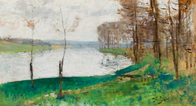 Pierre Eugène Montézin (1874-1946) Bords de la Seine à Veneux les Sablons 16 1/2 x 29 3/4in. (42 x 76cm) Executed in 1925