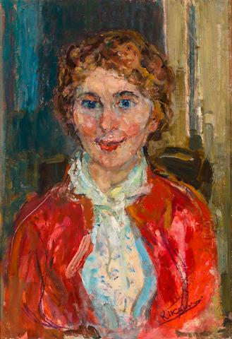 Michel Kikoïne (1892-1968) Portrait de femme en rouge 21 x 14 3/4in. (53 x 37.5cm)