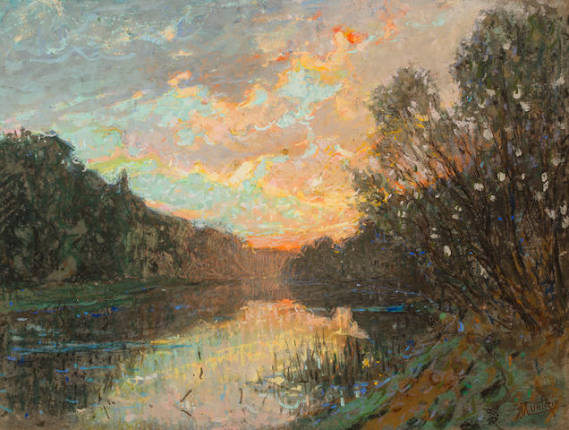 Pierre Eugène Montézin (1874-1946) Bord de la rivière au coucher du soleil 19 1/2 x 25 1/4in. (49.5 x 64cm)