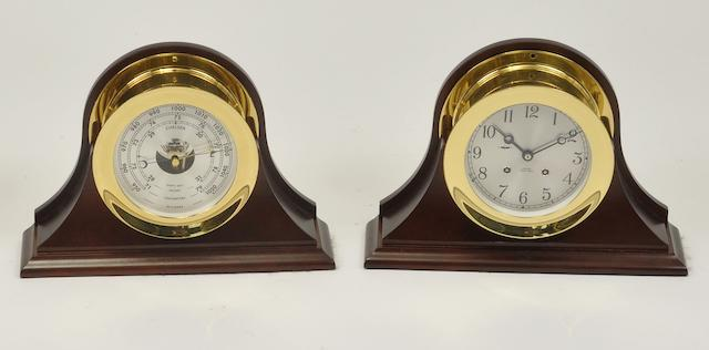 "A Chelsea ""Ship's Bell"" clock and barometer set  20th century 7-1/4 in. (18.4 cm.) overall diameter. 2"