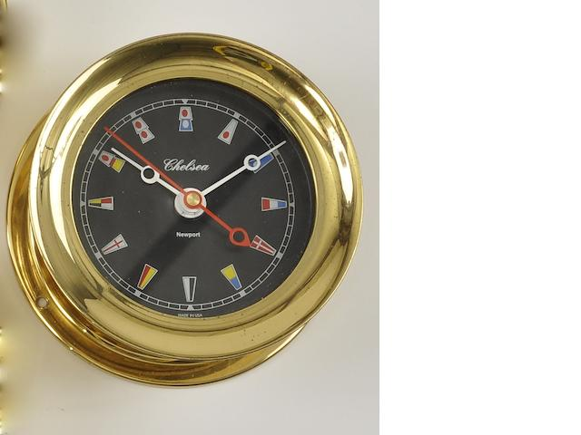 "A Chelsea ""Newport"" signal flag clock<BR /> 20th century 5-1/2 in. (13.9 cm.) overall diameter."