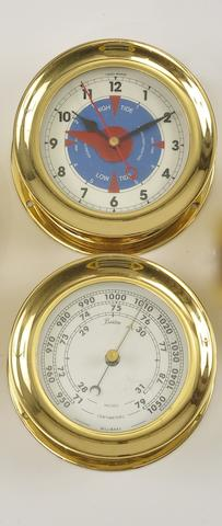 "A Chelsea ""Newport"" time and tide clock with a barometer  20th century 5-1/2 in. (13.9 cm.) overall diameter, each. 2"