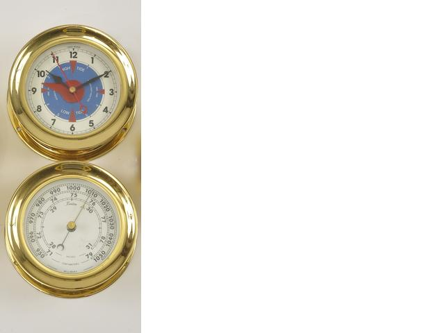 "A Chelsea ""Newport"" time and tide clock with a barometer<BR /> 20th century 5-1/2 in. (13.9 cm.) overall diameter, each. 2"