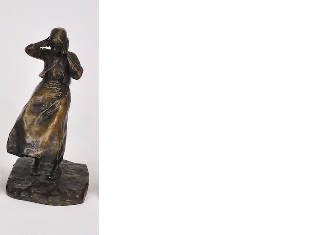 A patinated bronze figure of a wind blown Dutch peasant girl<BR />after a model by Ruth Milles (French, 1873-1941)