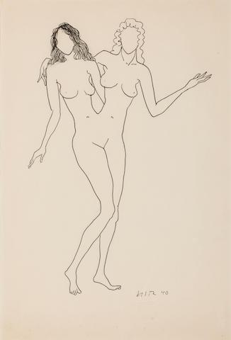 Man Ray (American, 1890-1976) Deux Femmes  18 1/8 x 11 13/16in. (46 x 30cm)