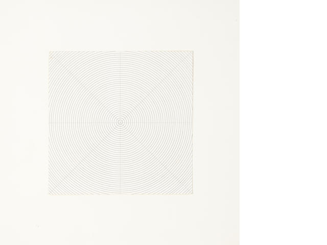 Sol LeWitt (American, 1928-2007) pencil drawing of concentric circles  9 x 9in. (22.86 x 22.86cm)