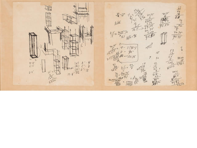 Sol LeWitt (American, 1928-2007) Untitled sketches, Notes with a short letter 10 x 20 1/2in. (25.4 x 52.07cm)