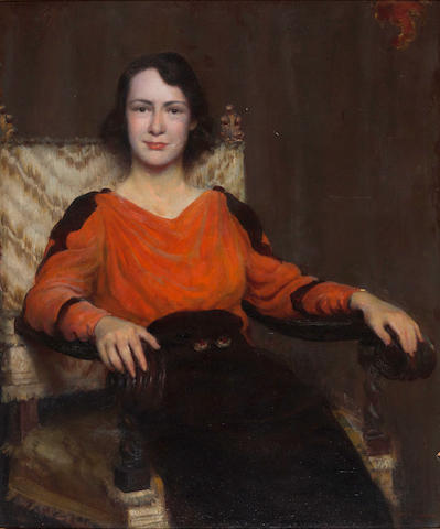 Charles Courtney Curran (American, 1861-1942) Portrait of Nina Clemens Gabrilowitsch, 1934 36 x 30in