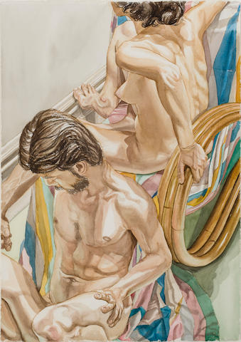 Philip Pearlstein (born 1924) Male and Female with Bamboo Chair, 1979 41 1/2 x 29 1/2in. (105.8 x 75cm)