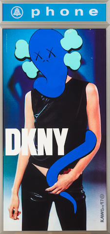KAWS, DKNY, 1997, acrylic on lithographic base, 25 x 50in.
