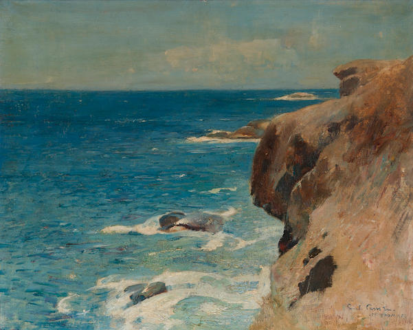 Soren Emil Carlsen (Danish/American, 1848-1932) Cliffs along the sea, St. Thomas, 1916 16 x 20in