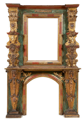 A good Spanish Baroque style painted and parcel gilt fireplace surround mid 19th century