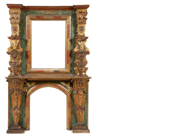 A fine Spanish Baroque style painted and parcel gilt fireplace surround<BR />mid 19th century
