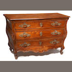 A Louis XV bronze mounted fruitwood commode en tombeau<BR />mid 18th century