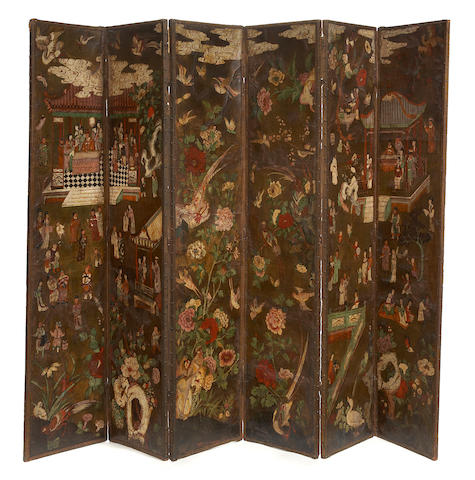 A superb Spanish polychrome Chinoiserie decorated leather mounted six panel floor screen 18th/19th century