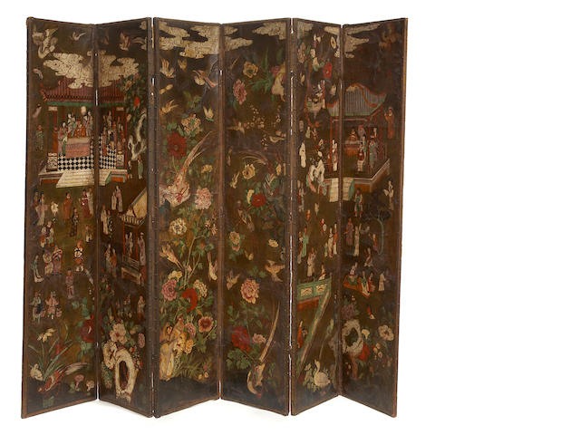 A superb Spanish polychrome Chinoiserie decorated leather mounted six panel floor screen<BR />18th/19th century