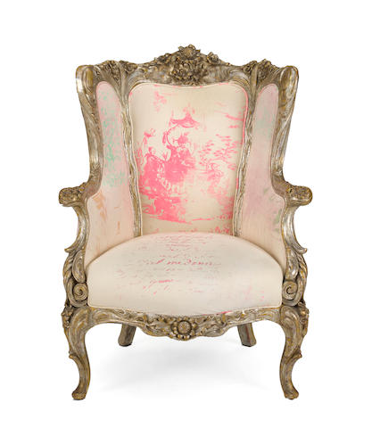 A silver giltwood bergere with Carolyn Quartmaine fabric