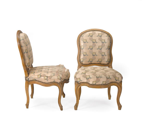 A pair of Louis XV beechwood chaises <BR />mid 18th century
