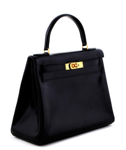An Hermès black Kelly handbag