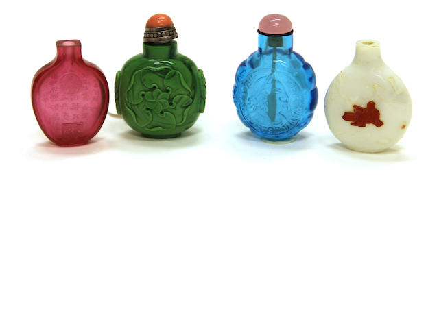 A group of four glass snuff bottles
