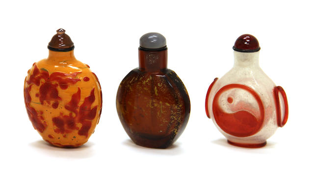 Three glass snuff bottles