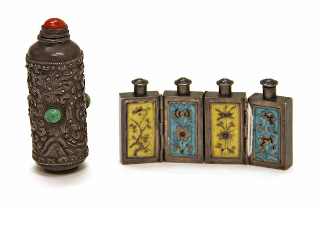 Two metal snuff bottles
