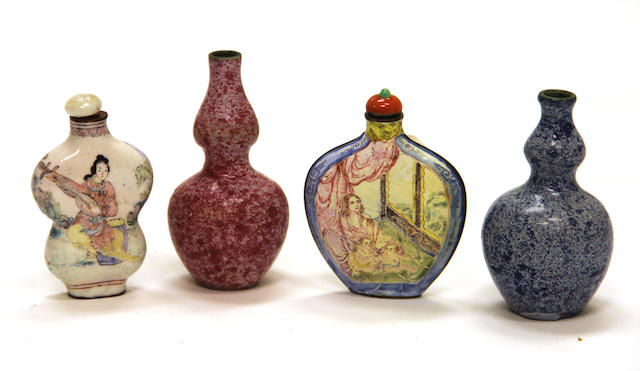 Two Canton famille rose enameled snuff bottles 1850-1920