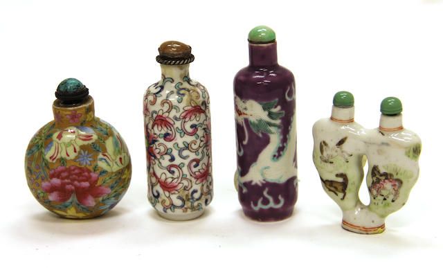 Four glazed porcelain bottles 1820-1940