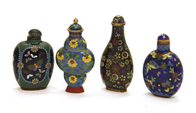 A group of four cloisonné enameled metal snuff bottles 1870-1950