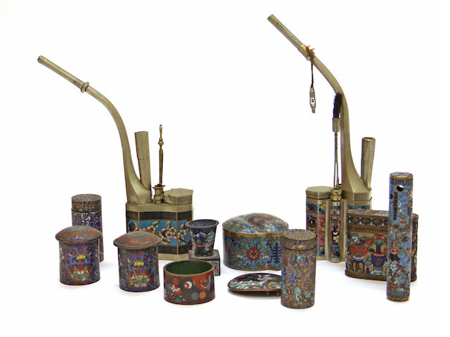 A group of Chinese and Japanese cloisonné metal and horn decorations