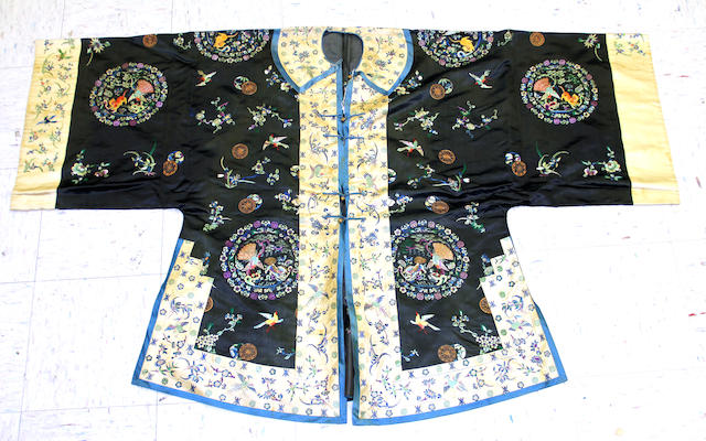 A lady's embroidered silk surcoat Late Qing dynasty