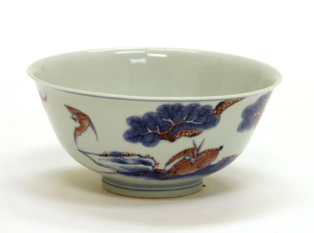 A underglaze blue and copper red porcelain bowl Qianlong mark, 20th century