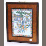 A polychrome enameled porcelain hanging plaque Republic period