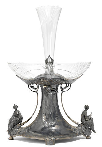 A WMF silver plated and cut glass epergne <BR />circa 1900