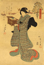 Hiroshige I (1797-1858) and Hiroshige III (1843-94)<BR />Seven woodblock prints
