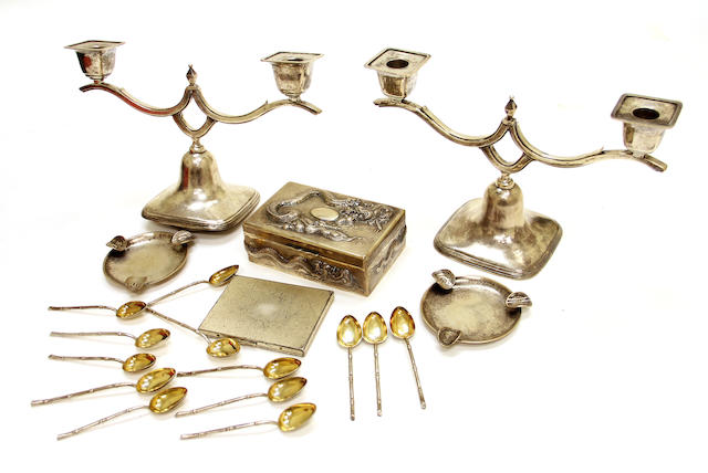 An assembled group of export silver accessories Republic period