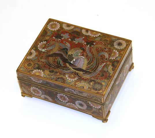 A cloisonné enamel box Meiji period
