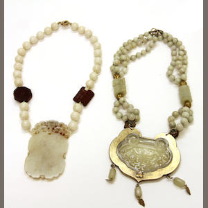 Two hardstone necklaces with reticulated jade plaques